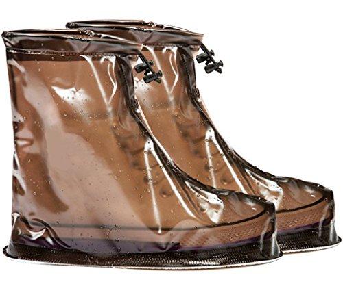Eagsouni® 1Paar Regenüberschuhe Wasserdicht Schuhe Abdeckung Stiefel Flache Regen Überschuhe Regenkombi Schuhüberzieher Rutschfestem für Damen Mädchen Herren Jungen Kaffee