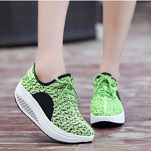 Solshine , chaussures compensées femme Vert