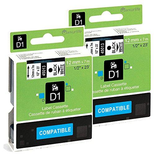 2x Compatibile Dymo D1 45013 S0720530, Nero su Bianco, 12mm x 7m, per Dymo  LabelManager 160, 220P, 420P, LabelPoint 150, 250, LabelWriter 450 DUO, di