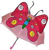 Unbekannt 3-D Regenschirm Schmetterling pink - Kinderschirm 61 cm lang - Kinder Stockschirm Regenschirm - für Mädchen Schirm Kinderregenschirm Schmetterlinge