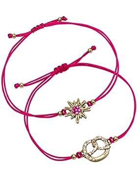 Alpenflüstern Damen Trachten-Armband Set Strass-Edelweiß und Breze pink DAB05200025