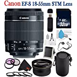 6Ave Canon EF-S 18-55mm F/3.5-5.6 Is STM Lens 8114B002 + 58mm 3 Piece Filter Kit + SD Card USB Reader + 32GB SDHC Class 10 Memory Card + Deluxe Lens Pouch + 58mm 2X Telephoto Lens Bundle