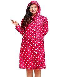 linshe Retro portátil Lunares impermeable para mujeres/niñas water-poof Chaqueta Outdoor viaje ropa Lluvia Poncho, rojo