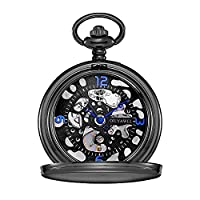 OUYAWEI Black Hollow Arabic Numerals Blue Watch Hand Men's Mechanical Pocket Watch Fob + Chain Gift
