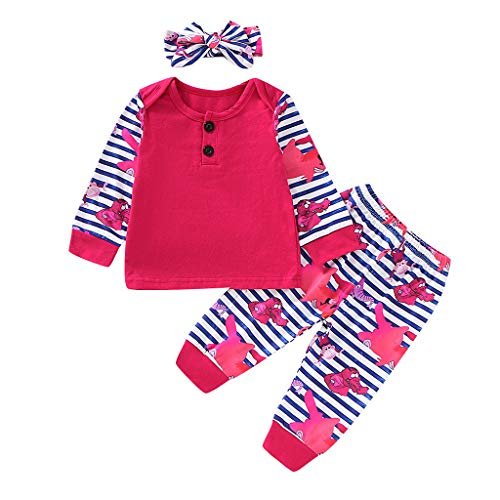 DIASTR Kinderbekleidung Mädchen 3er Babyset Shirt Mädchen Blument Shirt Oberseiten + Striped Karikatur Hose + Stirnband Ausstattungen für Mädchen und Jungen(3m-18m) - Big Kinder Bekleidung Lila