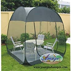 Amaze Auto Pop Up Folding Light Weight Portable Outdoor Mosquito Insect Net Screen Room With Carry Bag (Green, 7.5' X 7.5' X 7' Ht.)