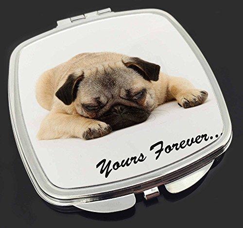 Mops-Hund ' Yours Forever' Sentiment Make-up Taschenspiegel Weihnachtsgeschenk
