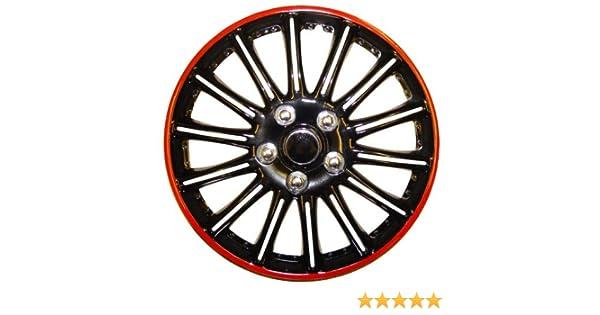 Citroen C1 14 Inch Black with Red Pinstripe Car Hub Caps Wheel Trims BOOSTER 14