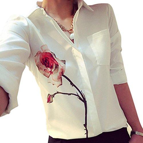 OSYARD Damen Lange Ärmel Rose Blume Bluse Umlegekragen Chiffon Shirts(EU 46/2XL, Weiß)