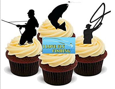 FLY FISHING FISHERMAN MIX - Fun Novelty PREMIUM STAND UP Edible Wafer Paper Cake Toppers Decoration by Baking Bling
