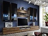 Juub Wohnwand Anbauwand Wohnzimmer Schrankwand DORADE Hochglanz LED Beleuchtung TOP - Dorade Nussbuam Schwarz