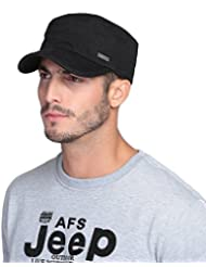 WF:sombrero de las señoras sombrero del casquillo de hombres y mujeres de la moda coreana de la manera ocasional cap cap plano simple ( Color : Negro )