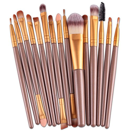 Pinceaux Maquillage,Winwintom® 15 Pcs / Ensembles Eyeshadow Fondation Sourcils Pinceau à lèvres,Or