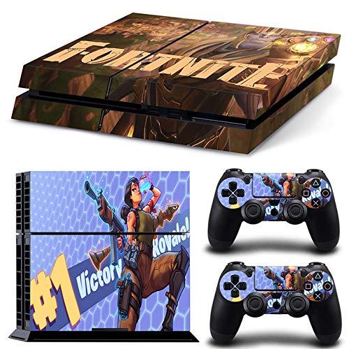 RemyCoo PlayStation 4 Populaires Fortnite Battle Royale Autocollant En Peau De Couverture pour PS4 Console + 2 Peaux Pour Contrôleurs PS4 – Or