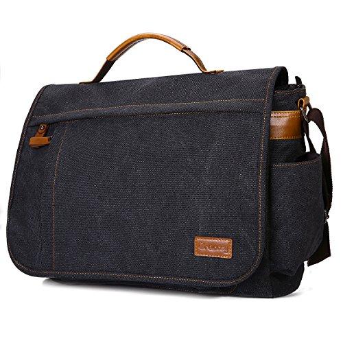 Umhängetasche, Gracosy Unisex Laptoptasche 15,6 Zoll Vintage Canvas Messenger Bag Schultertasche Herren für Arbeit Uni Reise Grau