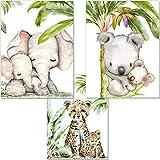 artpin® Set di 3 immagini per la cameretta dei bambini, animali della giungla decorativa, ragazzi ragazze - DIN A4 Poster animali senza cornice - Safari Africa - Elefante tigre Koala P54