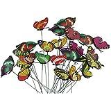 tankerstreet Whimsical Garden mariposas, varios colores mariposas sobre palos decoración adornos patio jardín maceta colorido Set Pack de 24