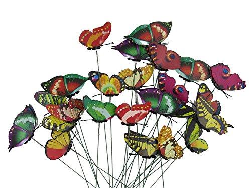 Tankerstreet Lot de 24 papillons sur tige de couleurs assorties, décoration colorée fantaisie pour jardin, cour et pot de fleurs