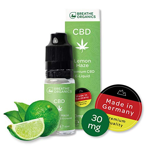 Premium CBD Liquid Lemon Haze von Breathe Organics®   E Liquid ohne Nikotin mit 30 mg CBD   100% natürliche Terpene   Cannabidiol Liquid   VGmax Basis Dampfer