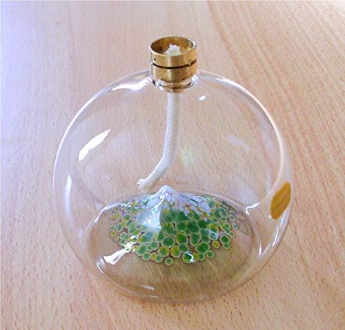 Öllampe aus Glas mit Farbgranulat Einschmelzung Berg mit Schnee & Dochtschutz Handmade