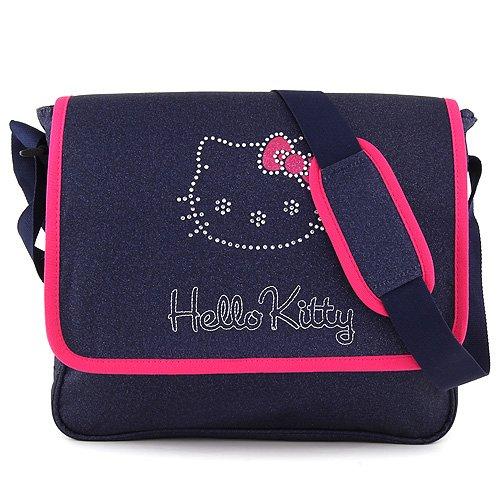 Hello Kitty Kitty - 17462 Sac bandoulière Borsa Messenger, 36 cm, 11 liters, Blu (Bleu Jeans/Rose)