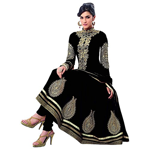 Purva Art Women's New Arrival Banglori & Georgette Semi-Stitched Embroidered Dress With Dupatta (PA_1512_Semi Stitched_FreeSize_Black_BGD)