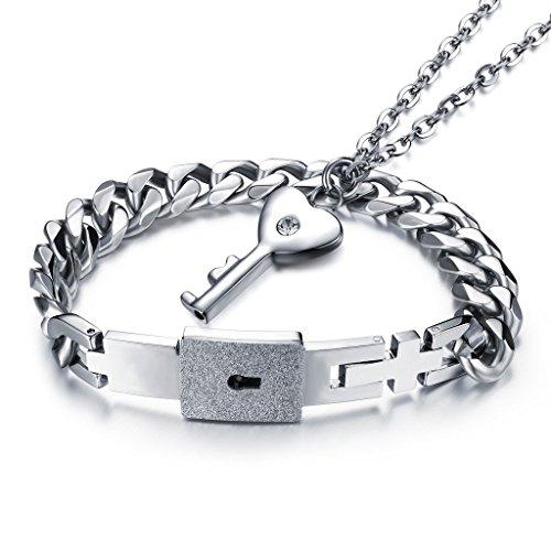 mode-avance-en-acier-inoxydable-assorti-lot-de-bijoux-bracelet-avec-cur-cl-collier-de-serrure
