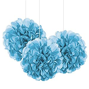 Unique Party Paquete de 3 pompones pequeños de papel de seda Color azul claro 23 cm 64219
