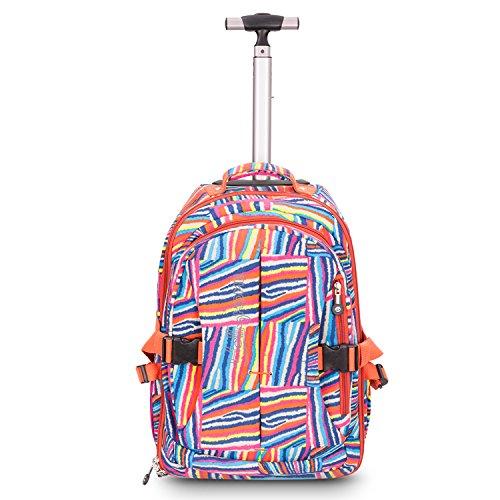 HollyHOME 1 19 Zoll Wasserdichte Wheeled Rollen Rucksack Laptop Bücher Tasche, Regenbogen-Drucke - Wheeled Laptop-tasche