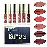 Beauty Glazed 6 Couleur Set Rouge à Lèvres Liquide Mat, Longue Tenue Waterproof Liquid Lipstick Lip Gloss Matte
