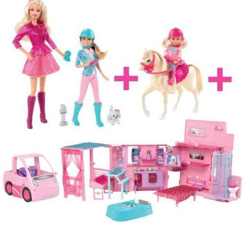 Mattel bmd31 barbie camper 2 in 1 sister e pony for Accessori per barbie