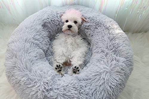Segle Snug Comfort Hundebett,Donutbett,Haustierbett für Katzen und kleine mittelgroße Hunde,Weichem Kissen, rund, Nisthöhle, Hundekissen Gemütlich für besseren Schlaf-grau-60 * 60 * 20cm -