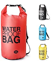 Bolsa Estanca Bolsa Seca Dry Bag Impermeable para Kayak Canotaje Pesca, Rafting Snowboarding Cámping Al aire libre - tamaño opcional y Color garantizar frío-clima confort-10L/20L (Rojo, 20L)