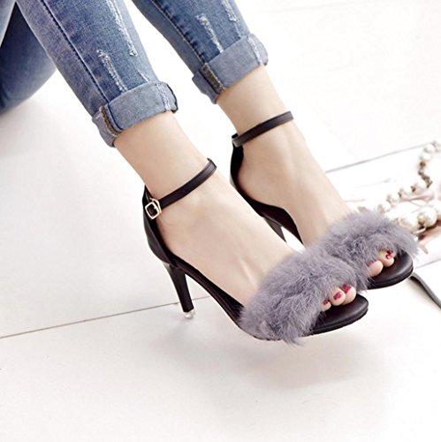 DM&Y 2017 Semplice coniglio parola cingolato pelliccia scarpe col tacco alto benissimo con i sandali sexy aperti biancone Grey