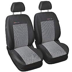 Carpendo Sitzbezüge Auto Vordersitze Autositzbezüge Schonbezüge Vorne Dunkelgrau-Grau mit Airbag System - Elegance P2