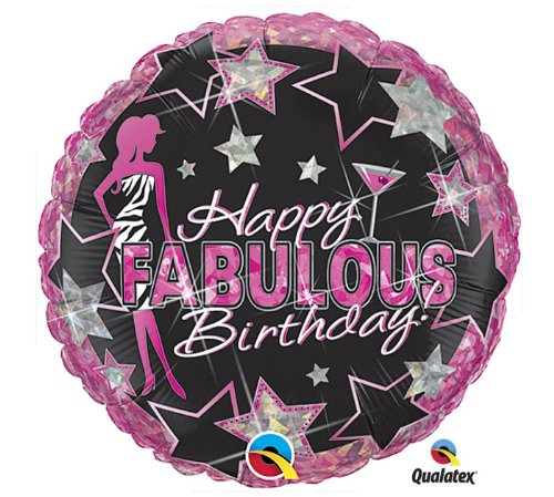 45,7cm Ballon Happy Birthday Fabulous Zebra Print Hot Pink Schwarz Martini (Party-dekorationen Hot Zebra Pink)