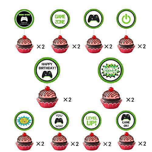 NAXIEE 20 Stücke Doppelseitig Video Game Topper Cupcake Geburtstag Kuchen Dekorationen,Spiel Thema Kinder Geburtstag Party Decoration,Cake Toppers Dekoration (Kuchen Videos)