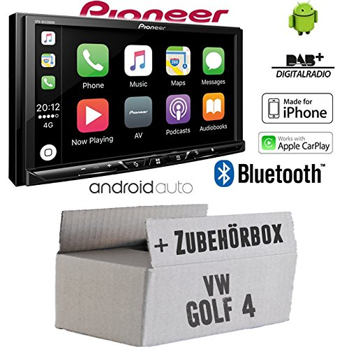 Autoradio Radio Pioneer SPH-DA230DAB Bluetooth DAB+ USB Apple CarPlay - AndroidAuto Einbauzubehör - Einbauset für VW Golf 4 IV - JUST SOUND best choice for caraudio