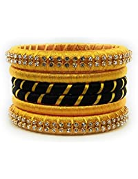 SAI Handmade Silk Thread Bangle Set For Women, Yellow And Black Color With Stone (Size - 2.8)