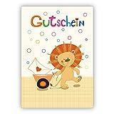 Süße Geschenk Gutscheinkarte mit kleinem Löwen: Gutschein