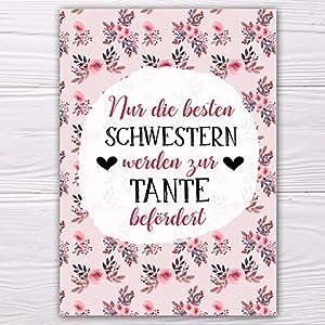 """A6 Postkarte""""Nur die besten Schwestern werden zur Tante befördert!"""" in rosa/rot Glanzoptik Papierstärke 235g/m2 Geschenk Schwester-Schwägerin"""