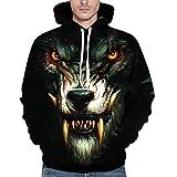 UFACE Unisex 3D Printed Wolf Pullover Langarm-Kapuzen-Sweatshirt Tops Bluse XXXXXL