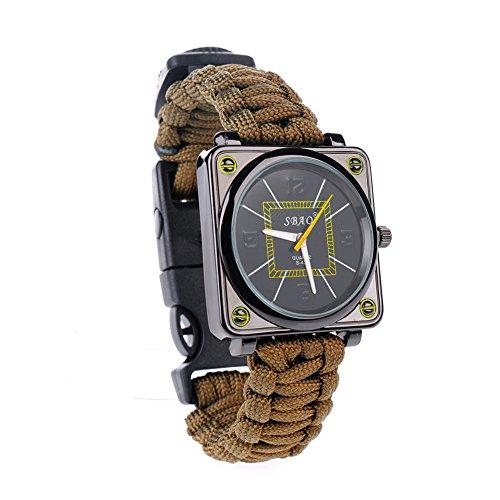AOXUN Paracord orologi corda sopravvivenza braccialetto corda quadrati braccialettoImpermeabile strumento multifunzionale Unisex regolabile strumenti di all