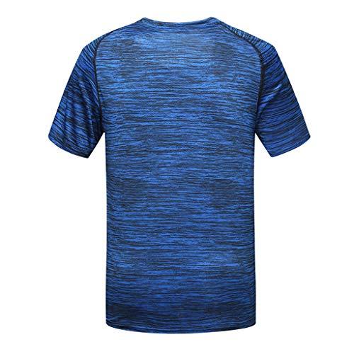 B-commerce Fashion Printing Freizeithemd - Herren Sommer Oansatz T-Shirt Fitness Sport Schnell Trocknend Atmungsaktiv Top Weiche Kurzarmbluse