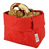 bun-di Swiss® - KREMPELBOX XL | Großer Brotkorb, Paper-Bag, Utensilo, Deko-Übertopf, Geschenkbox | Waschbares Papyr mit Lederoptik (Veganes Leder) | Ø 20cm (RED Apple)