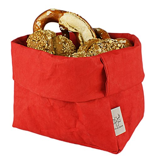 bun-di Swiss® - KREMPELBOX XL | Großer Brotkorb, Paper-Bag, Utensilo, Deko-Übertopf, Geschenkbox | Waschbares Papyr mit Lederoptik (Veganes Leder) | Ø 20cm (RED Apple) Red Apple Design