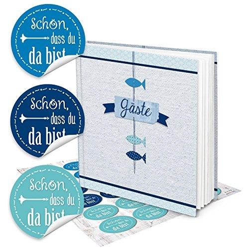 Fische Gästebuch Hochzeitsgästebuch blau weiß türkis+ 24 SCHÖN DASS DU DA BIST AUFKLEBER maritim navy 21 x 21 cm für Taufe Kommunion Firmung Kinder-Geburtstag Hochzeit