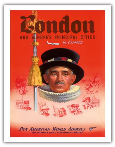 London Und Europas Principal Städte durch Clipper - Pan American World Airways (PAA) - British Yeoman of the Guard - Vintage Airline Travel Poster c.1950s - Fine Art Print 11