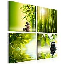 murando - Cuadro Bambu Piedra 40x40 cm - Impresion en calidad fotografica - Cuadro en lienzo tejido-no tejido - Naturaleza Aqua Verde 9060095
