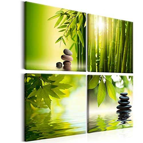 murando - Bilder Bambus Stein 80x80 cm - Leinwandbilder - Fertig Aufgespannt - Vlies Leinwand - 4 Teilig - Wandbilder XXL - Kunstdrucke - Wandbild - Canvas - Natur Wasser grün 9060095 Bambus Natur